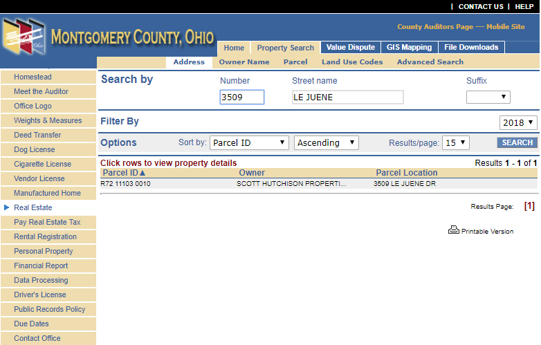 Montgomery County Auditor Search Result